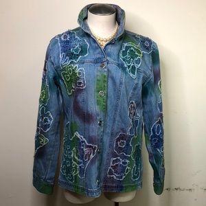 Chico's vintage Tie-dye floral beaded Jean jacket